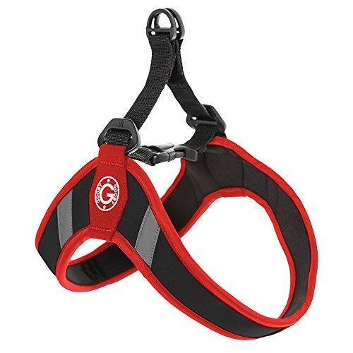Gooby Simple Step In Dog Harness with Reflective Lining, Red, Medium