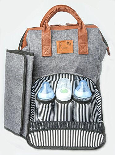Diaper Bag Backpack, Stylish Large Multi Function Organizer for Mom and Dad with Bonus Baby Stroller Straps, Nappy Changing Pad, Insulated and Waterproof Pockets, Designer Grey and Water Resistant