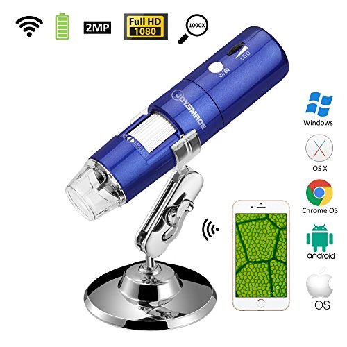 Wireless Wifi USB Digital Microscope Portable with 2MP Camera,1080P HD,50x  to 1000x Magnification and Mini Pocket Rechargeble Kids Microscope for