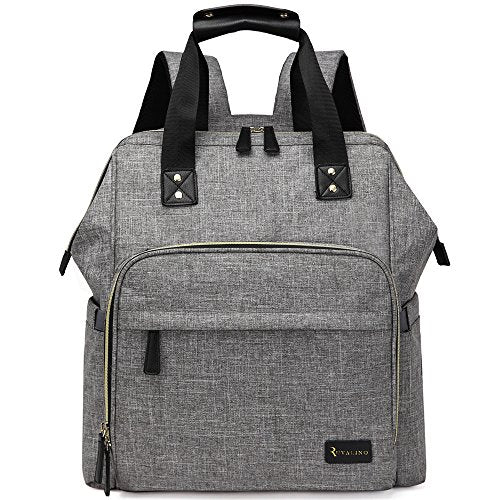 Large Diaper Bag Backpack Multifunction Travel Back Pack for Mom and Dad, Stylish Baby Nappy Bags with Changing Pad, Insulated Pocket and Stroller Straps, Grey