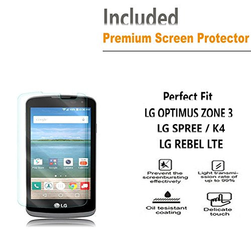LG Optimus Zone 3 / LG Spree / LG K4 / LG Rebel LTE Case, [Combo Holster]  Case And Built-In Kickstand Bundled with [Premium HD Screen Protector]