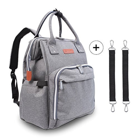 Diaper Bag Backpack - Polaris Multi-Function Maternity Nappy Bags For Baby Care | Travel Backpack With Large Capacity, Stroller Straps, Waterproof Cover - Durable and Stylish (Grey)