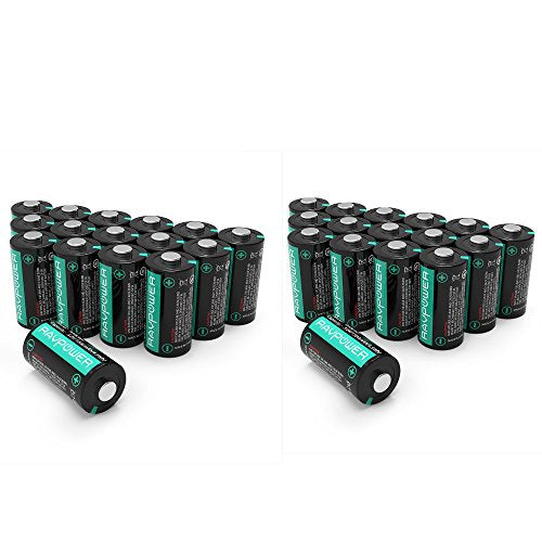 [2-Pack] CR123A Lithium Batteries [Upgraded] RAVPower 3V Lithium Battery Non-Rechargeable, 16-Pack, 1500mAh Each, 10 Years of Shelf Life for Arlo Cameras, Polaroid, Flashlight, Microphones and More