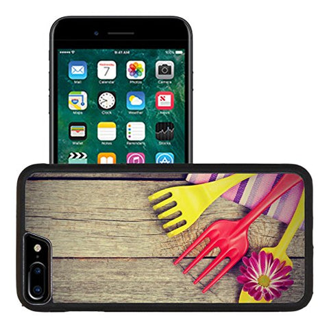 Liili Apple iPhone 7 plus iPhone 8 plus Aluminum Backplate Bumper Snap iphone7plus/8plus Case Garden tools with flower on wooden table 29341497