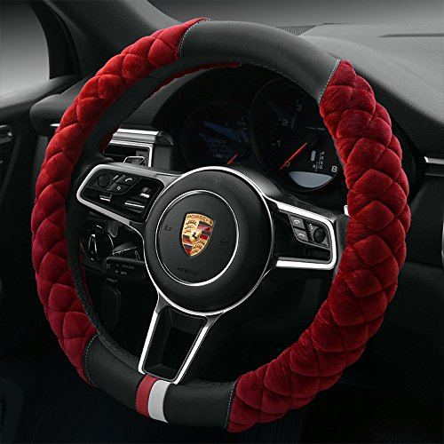 "【QIMEI】Universal Car Steering Wheel Cover Fluffy Size 38cm / 15"" Winter Plush steering wheel cover warm (B-Red)"