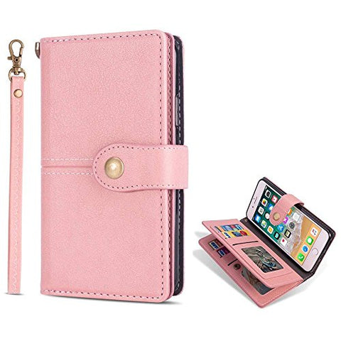 for iPhone 6 Case iPhone 6S Wallet Case LAPOPNUT Vintage Wallet PU Leather Flip Case Dual Folio Card Holder Housing with Wrist Hand Strap Magnetic Lock Kickstand Case Book Cover, Pink