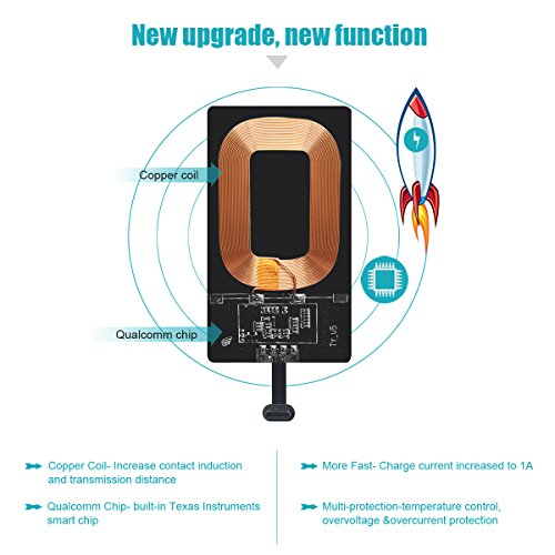 Type C Wireless Charging Receiver QIDOE 1A Magic Tag USB C Qi Wireless  Charger Receiver Chip for Google Pixel XL/LG V20/HTC 10/OnePlus 3 and other  Big