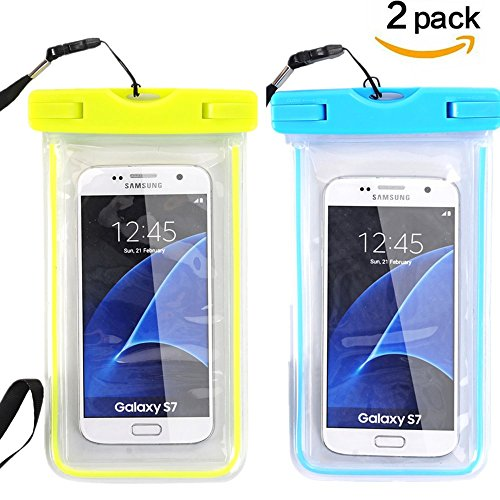 new product 37040 f1db6 Universal Waterproof Case, Asstar [2-Pack] Phone Dry Bag With Neck Strap  for iPhone 7 / SE / 6s / 6s Plus, Galaxy Note 7 / S7 / S7 Edge,Huawei, LG,  ...