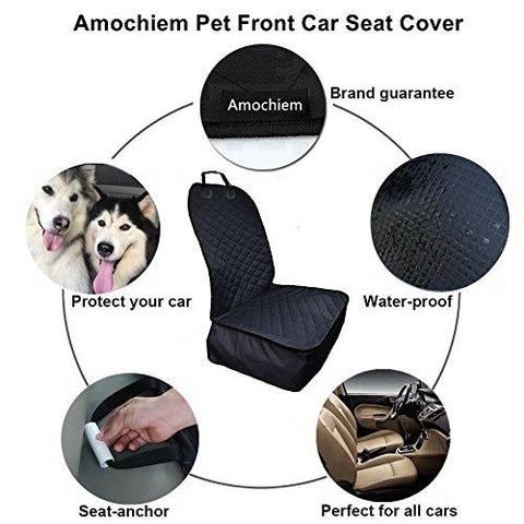 Ulandago Car Cover For Dog Waterproof Front Seat Cover Anti-scratch Nonslip Rubber Backing Padded Washable Pet Black Cover Universal For All Cars Trucks & SUVs