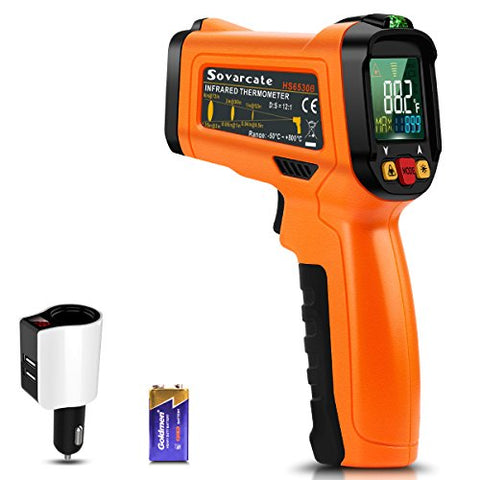Infrared Thermometer, Non-Contact Digital Laser IR Thermometer with Color Display -58°F~1022°F for Kitchen Cooking Automotive and Industrial, Free 2.1A Car Charger