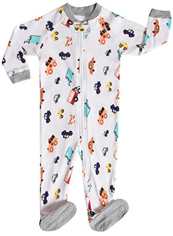 "Little and Baby Boys Footed ""Truck"" Pajamas Sleeper 100% Cotton Size 4T"