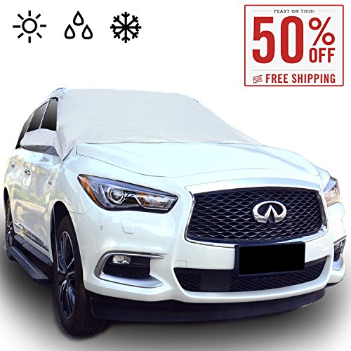 Chanvi Windshield Cover Snow Ice Frost Rain Resistant, Waterproof Windproof Dustproof Outdoor Car Covers-2 Color (silver)