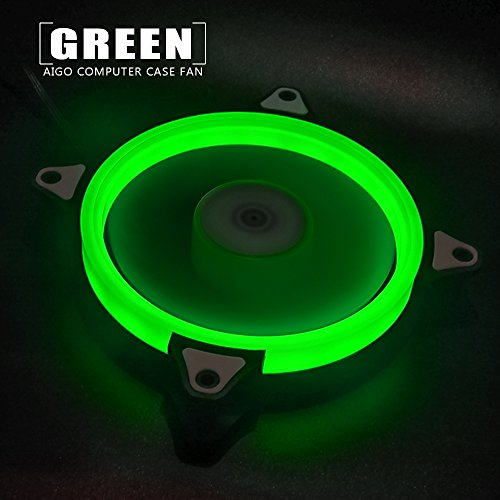 Pack of 3 Aigo Halo LED Ring Fan 120mm 12cm Sleeve Bearing 120mm LED Silent  Fan for Computer Cases, CPU Coolers, and Radiators (3 Pack Green)