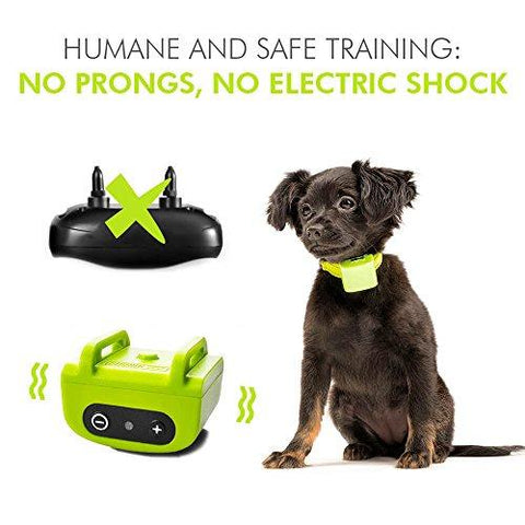 Small Dog Bark Collar for Tiny Puppies to Medium Dogs (5+lbs) – Rechargeable Vibrating Anti Barking Device – Smallest and Safest on Amazon - No Shock and No Spiky Prongs (Neon Green)