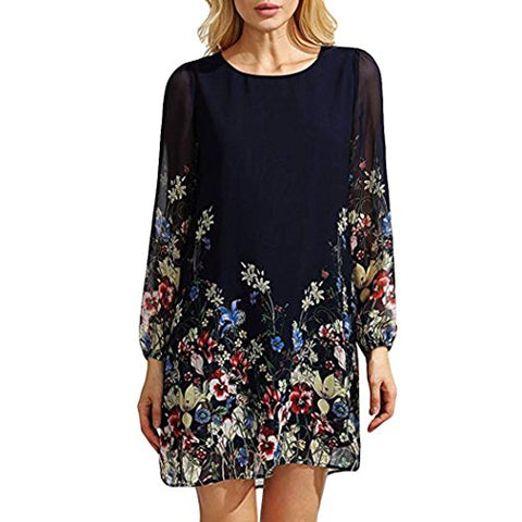 Minisoya Women Floral T-Shirt Dress 3/4 Sleeve Casual Boho Tunic Long Tops Blouse Chiffon Loose Beach Party Mini Dress (Dark Blue, XL)