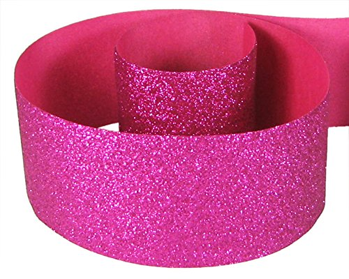 "HipGirl Glitter Sparkle Ribbon for Hair Bows, Cheer Bows, Dance, Floral Designs, Gift Wrapping, Sewing--3"" x 10yd, Shocking Pink (Fuschia)"