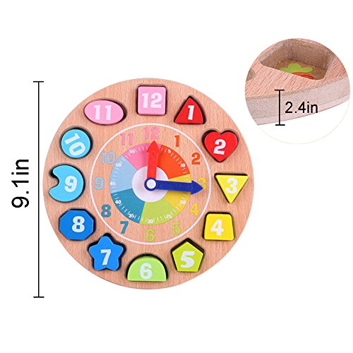 50% OFF! Wooden Teaching Time Clock, Shapes Sorting Games Learning Number  Tools Lacing Beads Educational Toys 100% Solid Wood