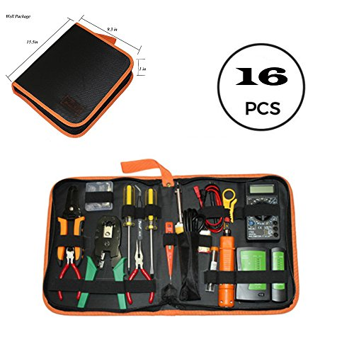 Roy Network Maintenance Repair Tools Kit, Test Pencil, Cable Tester, Electric Soldering Iron Included