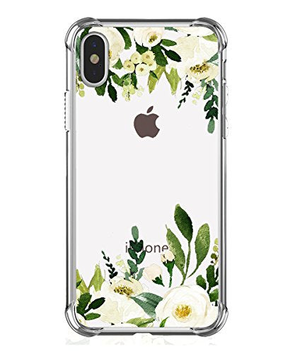 best website ca103 c4fea iPhone X Case, Hepix Clear Soft TPU White Flowers Protective Bumper Floral  Print Cover Case