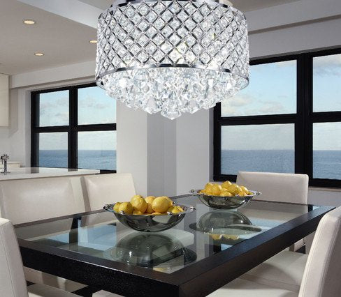 Top Lighting 4-light Chrome Finish Round Metal Shade Crystal Chandelier Flush Mount Ceiling Fixture