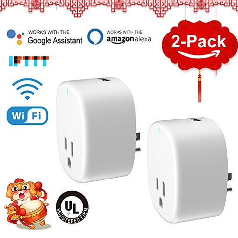 AvatarControls UL Certified WiFi Smart Plug,Mini Wireless Timer Outlet Power Socket with USB Port,Work with Alexa/Google Assistant/IFTTT,Remote Control On/off Electrical Devices via APP 2-Pack