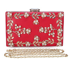 552eedbb95c ... Chichitop Women s Floral Pearl Beaded Evening Handbags Party Clutch  Bridal Purse ...