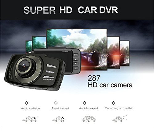 "NECKER 2.7""inch HD 1080P 60fps Dash Cam Car DVR Recorder 170 Degree Angle View Vehicle Camera with G-sensor Compatible with TF(SDHC) Memory Card up to 64GB"