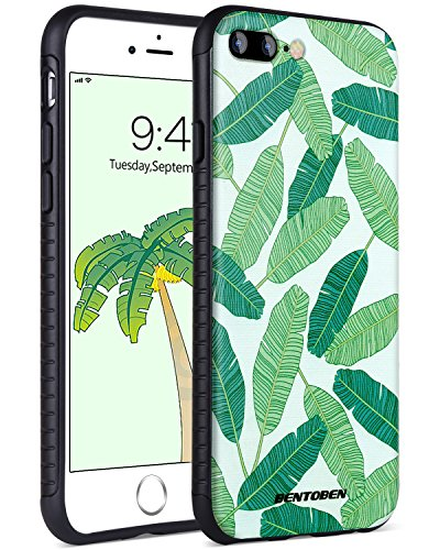 detailed look 2fb10 bbb50 iPhone 8 Plus Case,iPhone 7 Plus Case,BENTOBEN Slim Fit Tropical Leaves  Pattern Dual Layer Hybrid Shockproof Hard Back Durable Bumper Protective  Case ...
