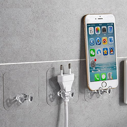 Strong Plug Hook Multi Purpose Transparent Plastic Pasting Hook, Phone Hook, Shaving Razor Towel Hook, Sticking Ceiling Hanger Hook Wall Mounted Heavy Duty Key Kitchen Robe Hook Holder (12 PCS)