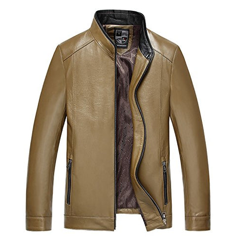 Musamk Dashing Men's Genuine Leather Jacket Brand Male Clothing Sheepskin Leather Jacket and Coats 2016 New Arrival 4XL Light BrownL High Grade