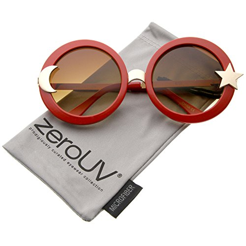 zeroUV - Women's Moon And Star Metal Temple Oversize Round Sunglasses 55mm (Red / Amber)