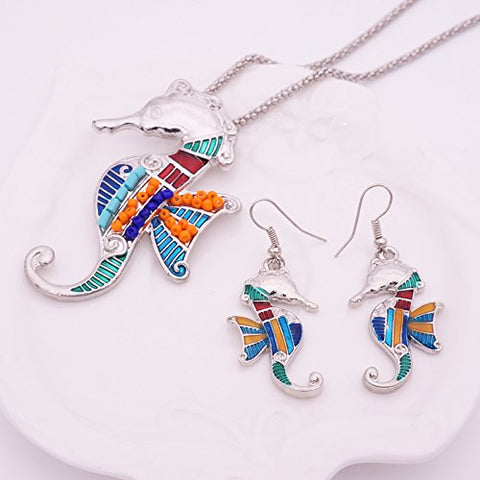2017 Summer Colorful Sea Horse Enamel Necklace Earrings Set For Women Choker Collar Chain Animal Jewelry Set (silver)