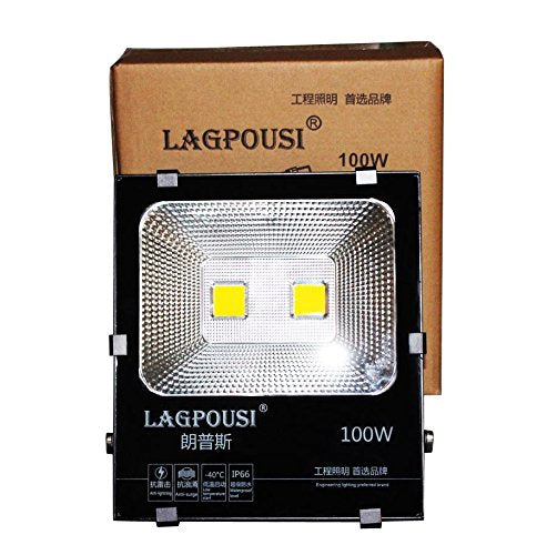 lagpousi 100W Super Bright Outdoor LED Spotlight Lights,500W Halogen Bulb Equivalent,Waterproof IP66 10000lm,OSRAM LED Chip, Angle of 120 degrees,6000K White,Garden lights,Flood light ,floodlight