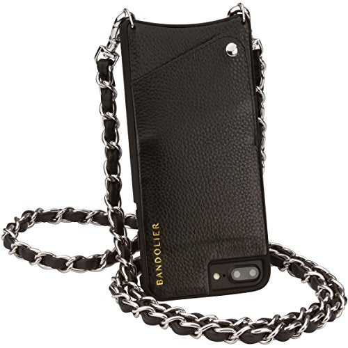 Phone Case For iPhone 8 Plus, 7 Plus + 6 Plus - Black Leather Women Wallet + Designer SILVER Hardware Cross-Body Strap Cell Case for ID & Credit Cards. Mobile Purse Carry Handsfree. Libby by Bandolier