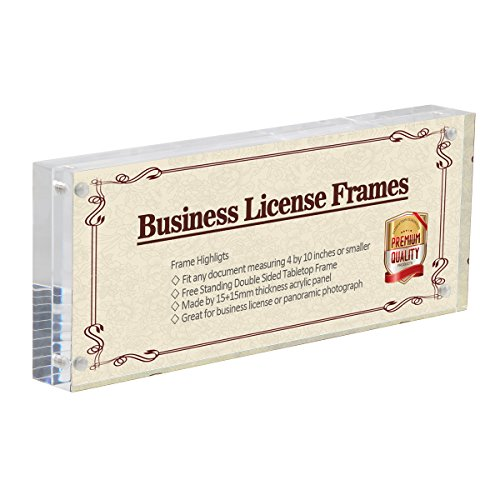 4x10 Business License Frame Clear Acrylic Panoramic Photograph