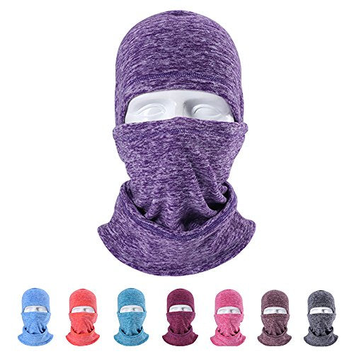 LUCKSTAR Motorcycle Mask - Ski Face Mask Motorcycle Cycling Bike Bandana Hiking Skateboard Balaclava Face Mask Motorcycle Bicycle Bike Full Face Mask Hood Hat Helmet Liner for Riding Skiing (Purple)