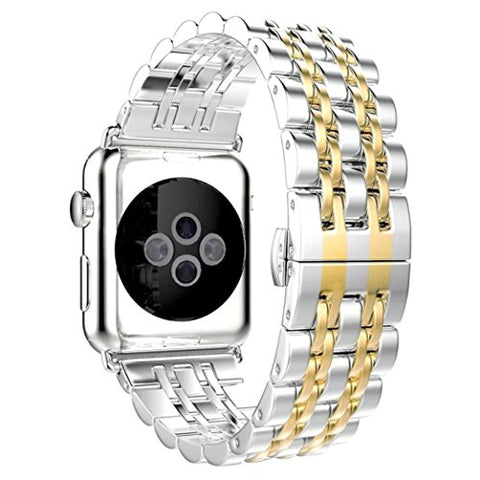 For Apple Watch Series 1/2/3 42mm For Women Men,Fashion Classical Stainless Steel Metal Replacment Watch Band Wrist Sports Strap (Silver+Gold)