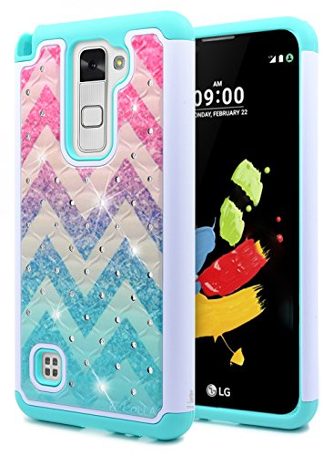 cheap for discount 6ff9c ffa12 LG Stylo 2 Case, LG Stylo 2 V Case, NageBee [Hybrid Protective] Armor Soft  Silicone Cover with [Studded Rhinestone Bling] Design Diamond Glitter Case  ...