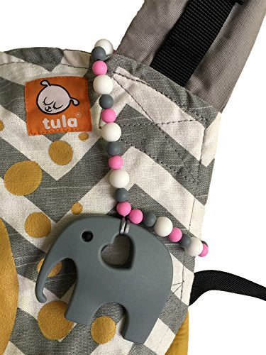 Nummy Beads Pink Elephant Teether Toy Attaches To Baby Carrier Car Seat High Chair