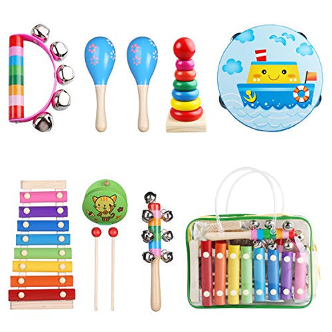 Kids Musical Instruments, Childom Musical Instruments Wood Xylophone for Kids Children, Child Wooden Xylophone Instrument Music Shakers Musical Games Tambourine Present with Carrying Bag