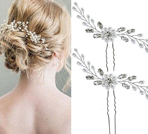 Unicra Wedding Hair Pin Decorative Bridal Hair Accessories for Brides and Bridesmaids Pack of 2 Silver