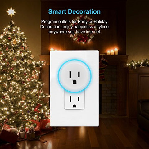 OMOTON [2 Pack] LED Wifi Smart Plug compatible with Amazon Alexa, Google Home, IFTTT, Wireless Socket Outlet Remotely Controls your Devices from anywhere, No Hub Required(Android/IOS)
