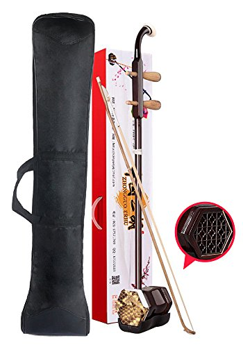 Orient Light Chinese Erhu Entry Level 2-string Violin Sinitic Chinese 2-string Violin Fiddle Sinitic Musical Instrument Traditional Handicraft Black Tracery with Bag