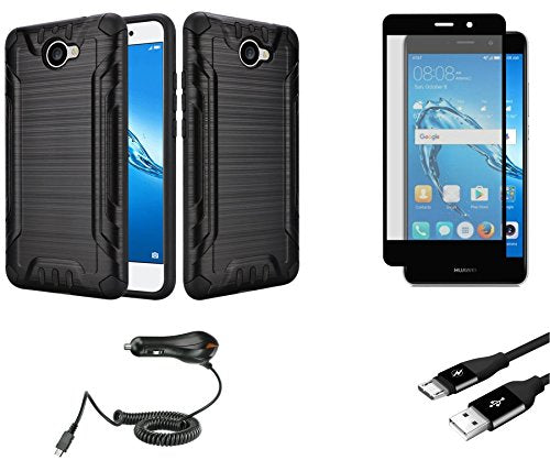 Huawei Ascend XT2 - Bundle: Slim Fit Shockproof [Perfect Fit | Non Bulky]  Brushed Armor Rugged Case - (Black), Glass Screen Protector, 1,100 mAh Car