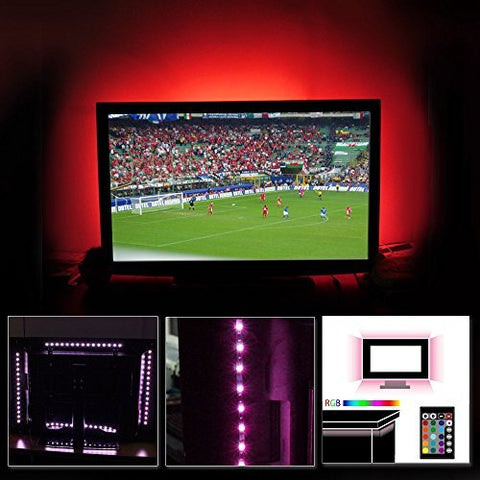"LED Multi-color TV Bias Lighting Backlight Strip for 32"" to 60"" Flat HDTV, ETL-listed, Home Theater Ambience Light Kit, UL adapter, Decorate Troffer, Gaming Computer, Musical Instrument, Bar Counter"