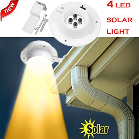 Vovomay New 4 LED Solar Powered Gutter Light,Outdoor/Garden/Yard/Wall/Fence/Pathway Lamp