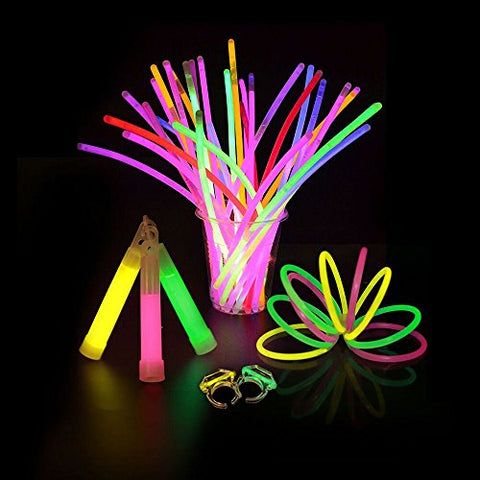 60PCS Glow Sticks Set with Connectors Glowstick Light-Up Necklaces Bracelets Mixed Color for Kids In The Dark Glow Stick Pack