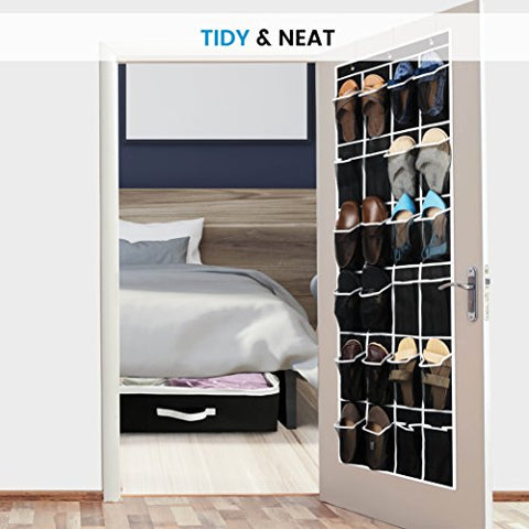 ZOBER Over the Door Shoe Organizer - 24 Breathable Pockets, Hanging Shoe Holder for Maximizing Shoe Storage, Accessories, Toiletries, Laundry Items. 64in x 18in