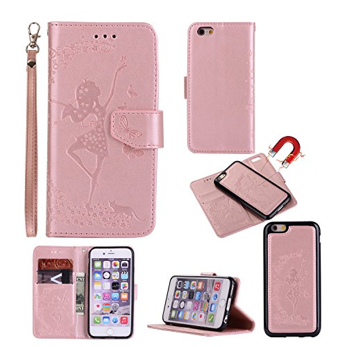 Gostyle Iphone 6 Caseiphone 6s Flip Detachable 2 In 1 Wallet Caseembossed Floral Butterfly Pattern Magnetic Leather Case With Credit Card