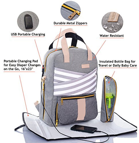 Baby Diaper Bag Backpack Slonser Large Designer Multi-Function Maternity Nappy Tote Bag Organizer Waterproof Travel Nursing Purse for Women Mom Dad Girl Unisex with Changing Pad Insulated Pocket Gray